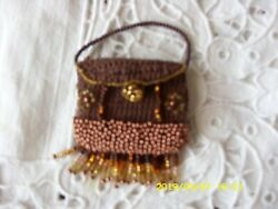 Antique Pattern Brown Purse For Antique Or Repro French German Doll