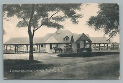Nj Central Railroad Station Freehold New Jersey—antique Train Depot—horse Cart