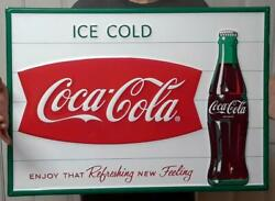 Coca Cola Embossed Fishtail And Bottle Sign Enjoy That Refreshing New Feeling