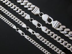 Real 925 Sterling Silver Solid Heavy Mens Miami Cuban Curb Link Chain Bracelet