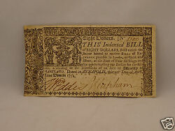 Fine 242 Year Old Colonial Currency Note 8 April 10 1774 - Maryland