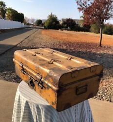 Jones Bros And Co Travel Steamer Metal Trunk Wood Strips And Wheels 1900