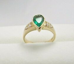 Colombian Emerald Dia Ring 1.51 Cts Pear Shape 18k Y Gold Size 7.5 Us Fine Muzo