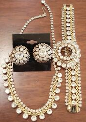 Rare Vintage Signed Weiss Jewelry Set- Necklace, Bracelet, Earrings, And Brooch