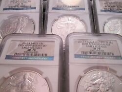 2011 American Silver Eagles 25th Annniversary 5 Coin Set Ngc 70 Early Releases