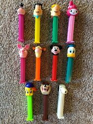 11 Cartoon Characters Collectible Vintage Pez Dispensers Mickey Mouse Donald Duc