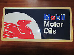 Mobil Motor Oils Pegasus Large Metal Sign 45 Inches Wide X 21 Inches High