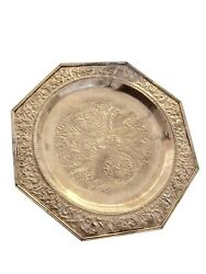 Octagonal Silver Footed Chinese Plate Platter Dragons Design 11 Diameter