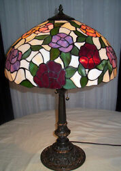 Style Multi-color Roses Stained Glass Ornate Metal Base Table Lamp 28