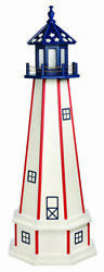 Amish Made Poly Garden Lighthouse - Patriotic Standard - Size And Lighting Options