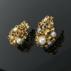 Vintage 0.42ct Diamond Pearl And 18k Yellow Gold Hand Carved Earrings