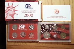 2000 S10 Coin Silver Proof Set W/ Statehood Quarters Coa And Ogp Die Clash Error