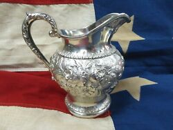 Antique S Kirk And Son Repousse Solid Sterling Silver Pitcher / Creamer 474f