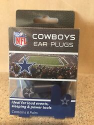Dallas Cowboys Nfl Foam Ear Plugs With Nfl Team Colors And Imprints - New In Box