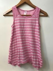 JUSTICE Pink White STRIPED TANK TOP Handkerchief Hem Lace Shoulder GIRLS SIZE 10 $9.95