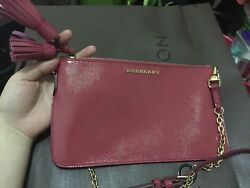 Auth Burberry Crossbody Bag Leather Shoulder Bag Blush Pink Clutch with Chain $355.00
