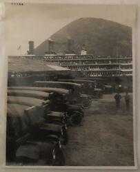 Large Photo Of 1920and039s Passenger Buses And Passenger Ship