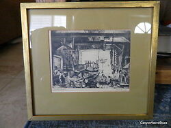 Vintage Signed Lionel Barrymore Print Etching The Old Boat Works Free Shipping