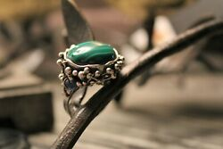 Handmade Abstract Sterling Silver Malachite Cabochon Sapphire Ring