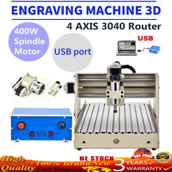 4Axis 3040 Router Engraving Machine Drill Milling Engraver 3D Cutter Carving USB
