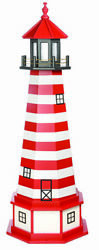 Amish Made In Usa Wood Garden Lighthouse - West Quoddy - Size And Lighting Options