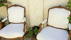 Pair French Louie Xv Open Arm Chairs, All Solid Beautifully Hand Carved Walnut