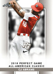 10 Ct Lot 2018 Cj Abrams Leaf Perfect Game Nike Aa Classic Aflac Limited-ed Sp R