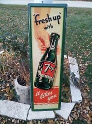 Very Rare 7up 7 Up Seven Up Sign 1948 54 X 17 Hand To Bottle It Likes You