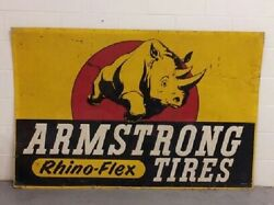 Ex. Rare Large Gold Version Armstrong Tire Sign  Single Side Tin Sign Oil/gas