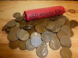 Lincoln Wheat Penny Roll Mixed Teens To 1950s S Mint Mark + Indian Head Cent