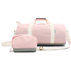 Oflamn Small Barrel Sports Gym Dance Bag with Toiletry Bag Round Weekender Bag