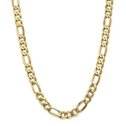 14k Yellow Gold 10mm Flat Link Figaro Necklace Chain Pendant Mothers Day Gifts
