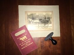 Rare A.m. Miles Family Meat Butcher Lot Photo Ledger Rubberstamp, Farncombe 1860