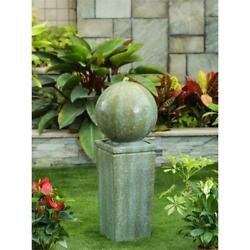 Luxen Home Stone And Patina Finish Sphere On Pillar Patio Fountain