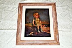 18thc Antique Rare French Portrait Oil Painting On Wood Cute Young Girl