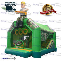 18x14.8ft Inflatable Army Air Shooter Gun Game Bouncy Castle With Air Blower