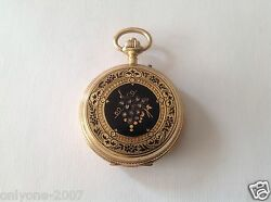 Antique Paul Boch Pocket Watche China Laque And Diamonds, 15 Rubis, 18k Gold