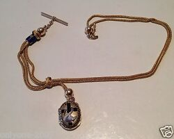 Antique Xix Century Gold And Diamonds Pocket Watch Chain And Medallion And Enamel
