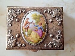 Antique Sterling Silver Very Big Boxe With Hand Painted Porcelain Picture Signed