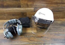 Comunica Size Small White Ultralite Pilot Helmet With Headset