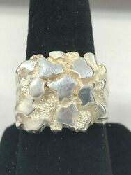 Solid Sterling Silver Nugget Ring 925 Large Heavy Jewelry 14kt Gold