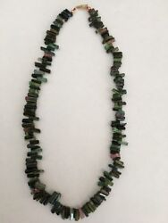 """Vintage Natural Maine Tourmaline 14k Gold Clasp Green, And Pink Necklace 16"""""""