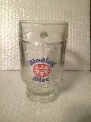 Binding Bier 100 Jahre 1970 Glass Beer Mug / Stein With Square And Circle Blocks
