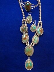 Navajo Necklace, Earrings And Bracelet Sterling Silver Signed Turquoise
