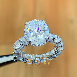14k White Gold Oval Cut Forever One Moissanite Round Cut Engagement Ring 5.00ct
