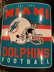 Miami Dolphins Nfl 50 X 60 Fleece Throw Blanket - New With Tag