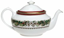 New Discontinued Fine China Teapot Tea Pot Christmas Rose With Lid Cover