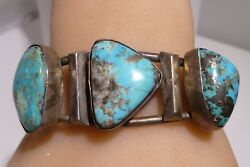 Fred Harvey Old Pawn Morenci Turquoise Sterling Silver Bracelet Cuff Navajo Rare