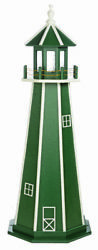 Amish Made Wood Garden Lighthouse - Standard - Green And White - Lighting Options