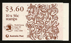 Australia Christmas 89 Stamp Booklet Scott 1159a With World Stamp Expo 1989 Op